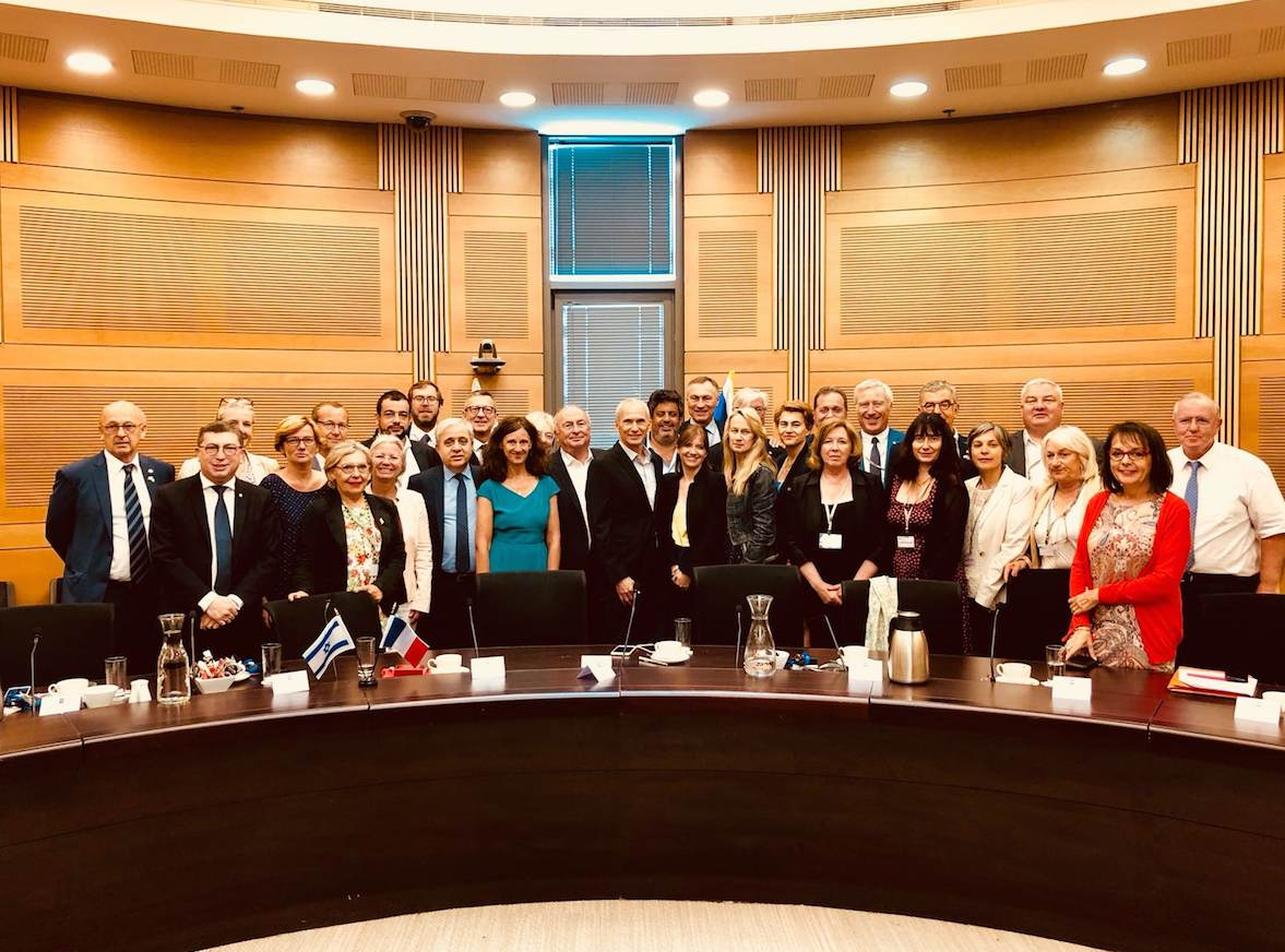 The French-parliamentarians at the Knesset with MKs Eli Elalouf and Omer Bar Lev